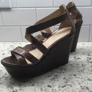 Talbots Faux Croc Wrapped Wedges